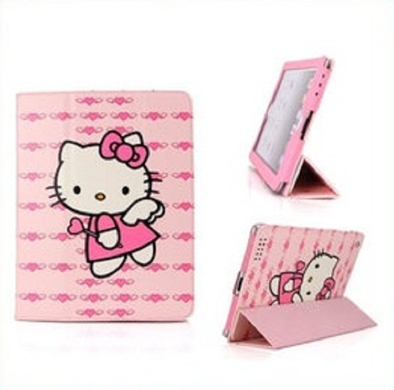 헬로키티 아이패드 케이스/Cute Printing Folio PU Stand Hello Kitty Skin Case for iPad Mini