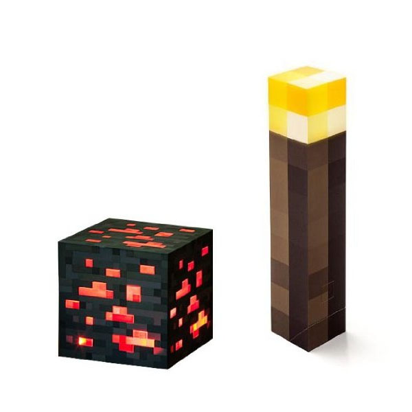마인크레프트 횟불 레드스톤 세트 Minecraft Light Up Torch and Redstone Ore Set Of 2